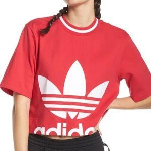 Adidas red/pink crop tshirt